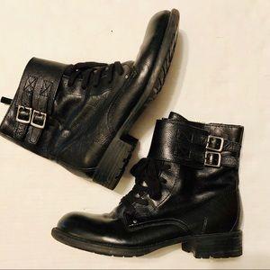 Franco Sarto Panax Leather Ankle Boots Black Sz 8